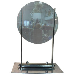 ART DECO ROUND TABLE MIRROR ON A NICKEL BRONZE STAND ATTRIBUTED TO DONALD DESKEY For Sale