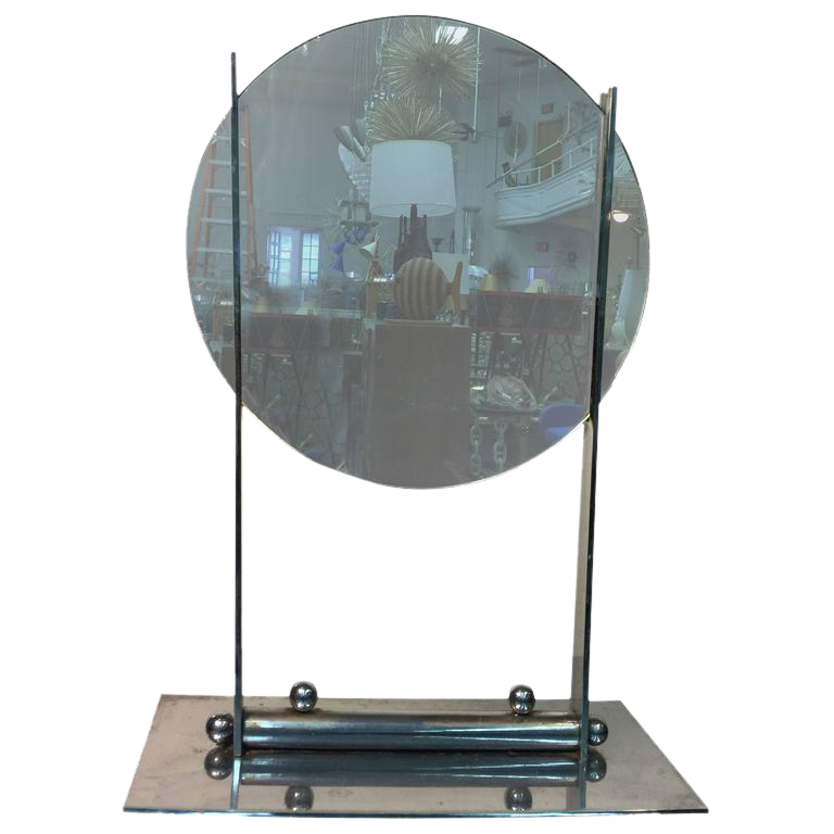 Charming ART DECO ROUND TABLE MIRROR ON A NICKEL BRONZE STAND ATTRIBUTED TO DONALD  DESKEY For Sale