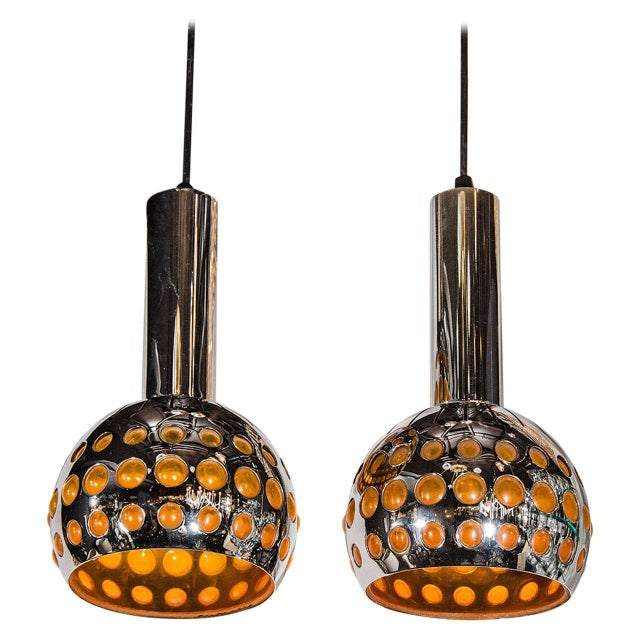Chrome Pair of French Mid-Century Modern Geometric Chrome Pendants Lights For Sale - Image 7 of 7