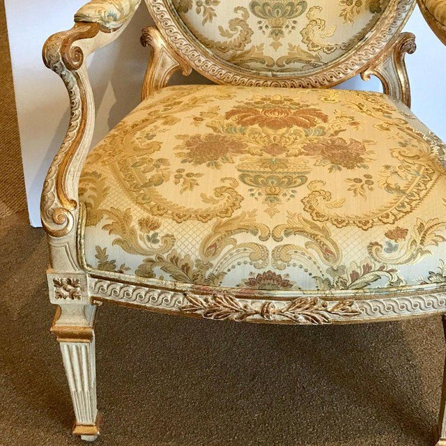 Pair of Louis XVI Style Carved Giltwood Bergère Chairs With Scalamandre Fabric For Sale - Image 12 of 13