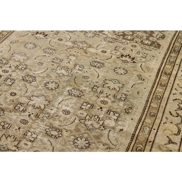 1960s Antique Persian Rug Malayer Design With Fading Floral Details - 6′8″ × 15′6″ For Sale - Image 4 of 5