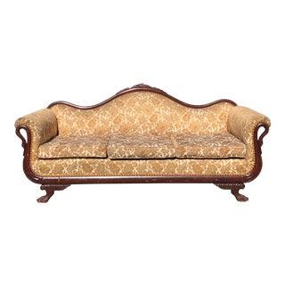 Golden Brocade & Swan Neck Victorian Sofa