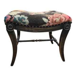 Klismos-Style Upholstered Bench For Sale