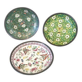 Japanese Porcelain Floral & Butterfly Pewter Trays - Set of 3 For Sale