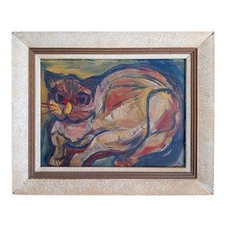 Mid 20th Century Mid-Century Cubist Feline Signed For Sale