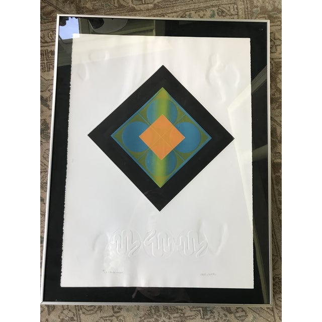 Mid-Century Modern Carlos Davila Geometric Embossed Serigraph Print, Framed For Sale - Image 6 of 8