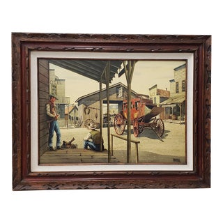 """Alfred Owles (1894-1978) """"The Long Wait"""" Original Watercolor Painting C. 1970s For Sale"""
