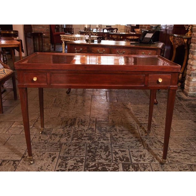 Antique French mahogany games table. Inlaid satinwood.