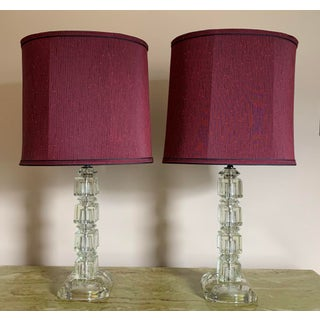Vintage 1940's Stacked Crystal Table Lamps with Shades - a Pair Preview
