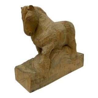 Vintage French Carved Horse Sculpture For Sale