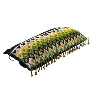 "Tribal African Kirdi Beaded Pikuran Lumbar Pillow 18.5"" W For Sale"