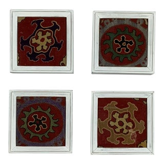 Antique Framed Suzani Wall Hanging- Set of 4 For Sale