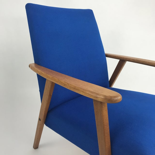 Royal Blue Swedish Modern Lounge Chair For Sale - Image 4 of 13