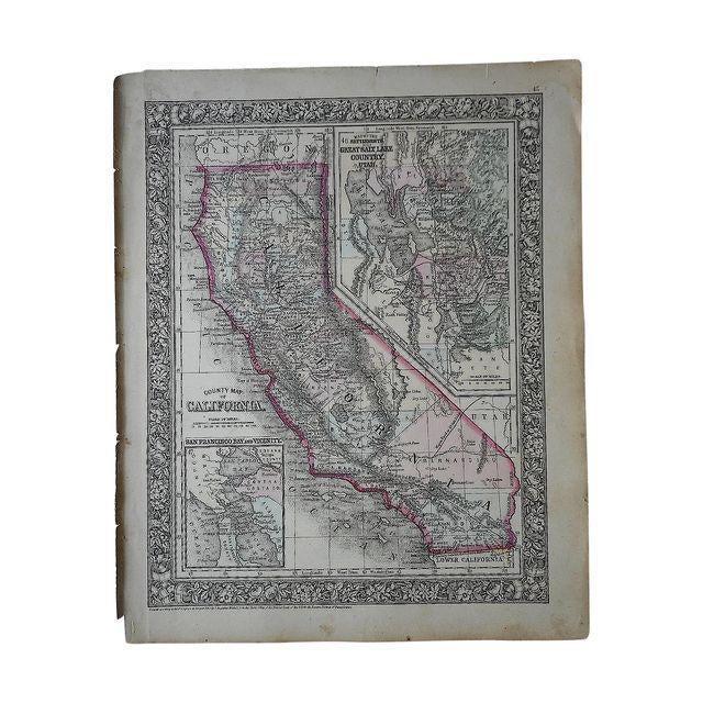 Antique Map of California & Great Salt Lake, Utah - Image 2 of 2
