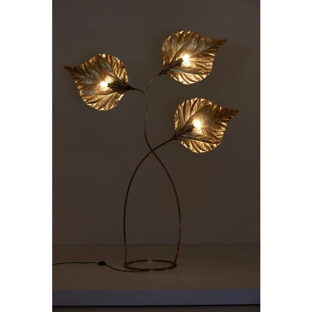 1 of 2 Huge Three Rhubarb Leaves Brass Floor Lamp by Tommaso Barbi For Sale - Image 6 of 13