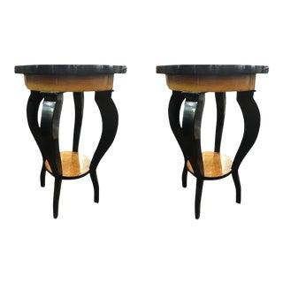 Vintage Biedermeier Cherry Wood Side Tables - a Pair For Sale