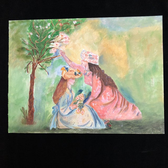 Figurative Lisa Burris Acrylic Painting of Two Young Ladies in a Meadow For Sale - Image 3 of 4