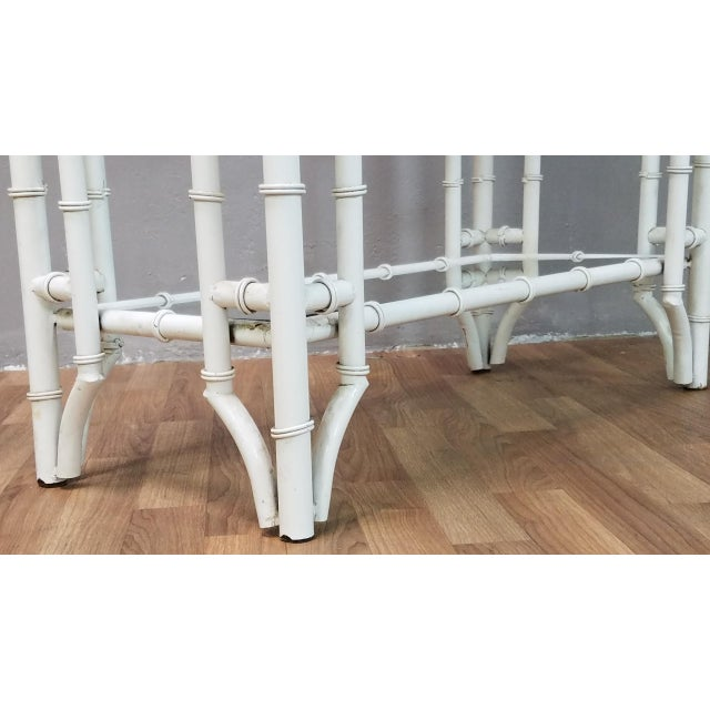 White 1950s Hollywood Regency White Metal Pagoda Faux Bamboo Etagere For Sale - Image 8 of 13
