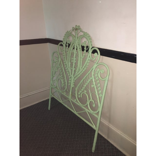 1960s 1960s Mid-Century Green Rattan Peacock Twin Headboard For Sale - Image 5 of 7