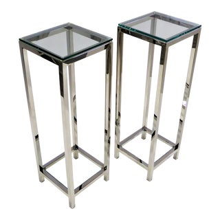 1970s Pair of Modern Chrome and Glass Pedestals For Sale