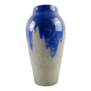 Large Art Pottery Vase Blue Drip Glaze For Sale