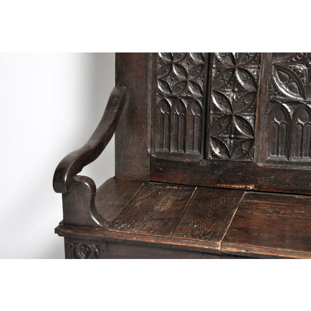 17th Century French Gothic Oak Hall Bench For Sale - Image 11 of 13
