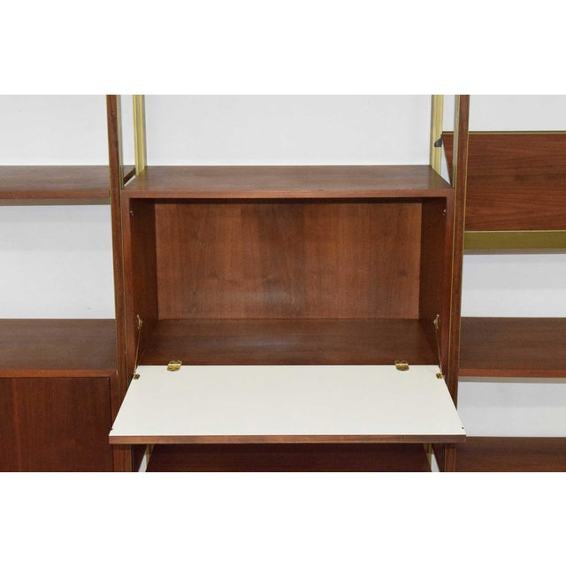 Large Four Bay George Nelson Walnut and Bronze Omni System For Sale - Image 10 of 13