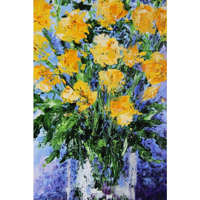 Two dozen yellow roses in a clear vase stand elegantly on any table, as depicted in this impressionist flower painting....