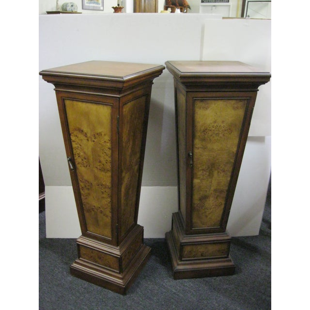 Brown Pedestal Storage Cabinets- A Pair - Image 3 of 10
