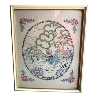 1920s Little Bo Peep Embroidery, Framed Art Deco Style Art