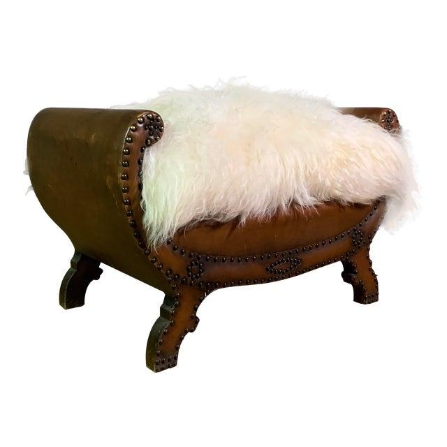 1930s Otto Schulz Leather & Sheepskin Footstool, Boet, Sweden For Sale