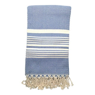Turkish True Blue Herringbone Stripe Handwoven Cotton Towel For Sale
