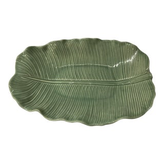 Vintage Metlox Sage Green Banana Leaf Serving Dish