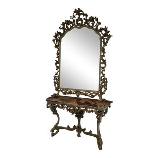 Italian Venetian Baroque Mirror and Console Table - 2 Pieces For Sale