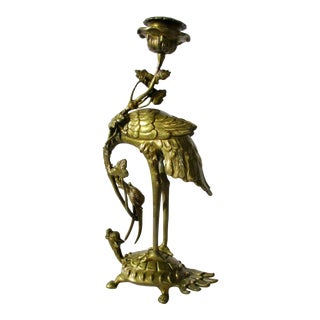 French Chinoise Bronze Crane on Turtle Candlestick Holder For Sale