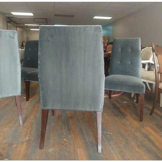 Mid-Century Modern Henredon Furniture Barbara Barry Slate Grey Velvet Dining Chairs - Set of 6 For Sale In Charlotte - Image 6 of 12