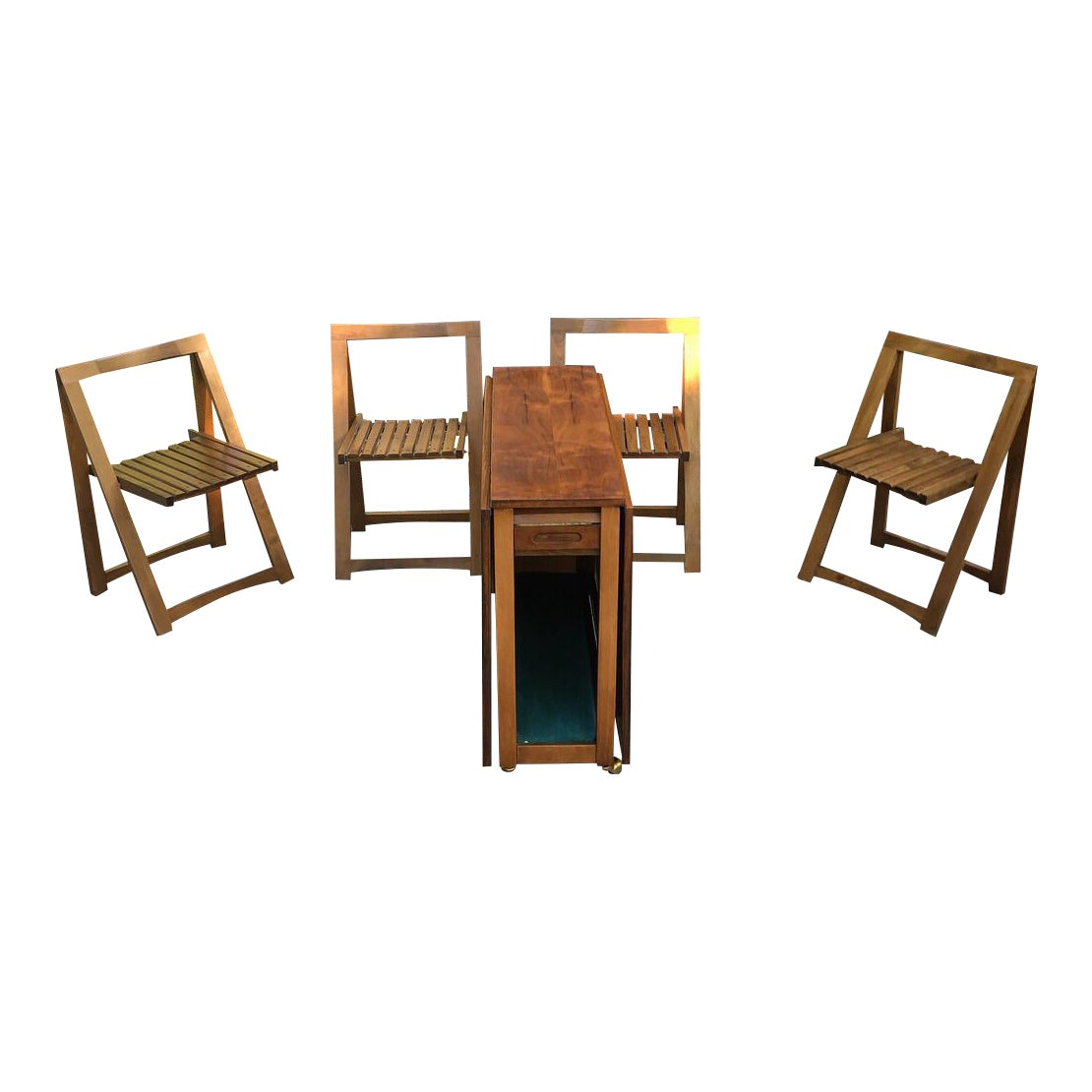 1960s Mid Century Modern Drop Leaf Wood Hideaway Rolling Table And Chairs 5 Piece Set Chairish