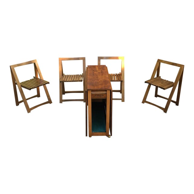 2d0a59159560 1960s Mid Century Modern Drop Leaf Wood Hideaway Rolling Table and Chairs -  5 Piece Set