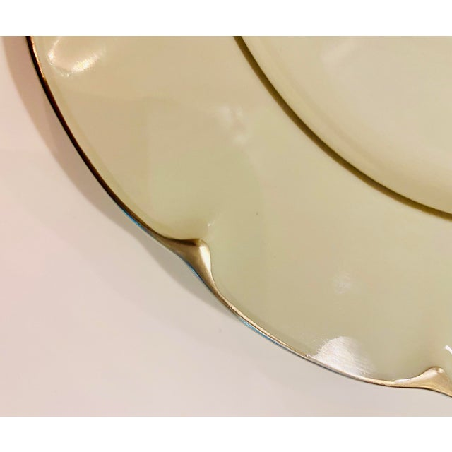 """Theodore Haviland """"Concorde"""" Limoges Celadon and Silver Scalloped Plates - Set of 13 For Sale - Image 10 of 11"""