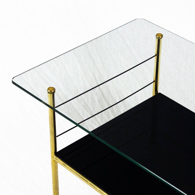 Black 1960s Coffee Table by Pierre Guariche, Brass, Bronze, Opaline, Glass - France For Sale - Image 8 of 9