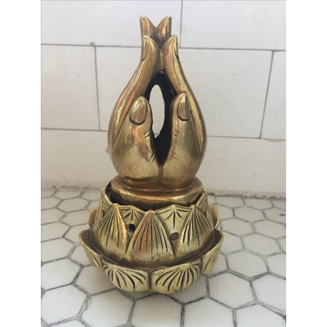 Hands on Lotus Brass Incense Burner - Image 9 of 9