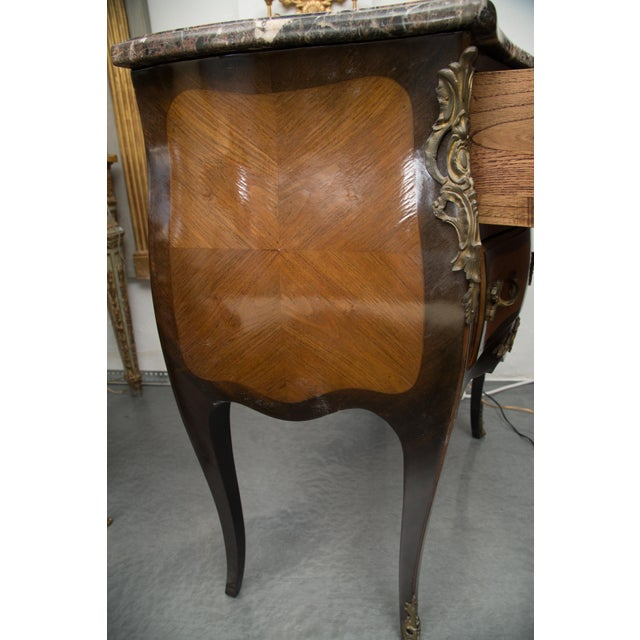 Wood Louis XV Style Two-Drawer Commode With Varigated Marble Top For Sale - Image 7 of 13