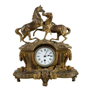 1880 Antique French Bronze Doré Mantle Clock With Stallion and Mare Horses For Sale
