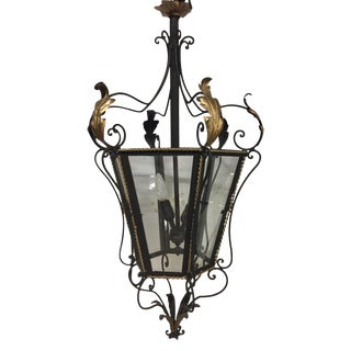 19th Century Iron & Brass Painted Hanging Lantern For Sale