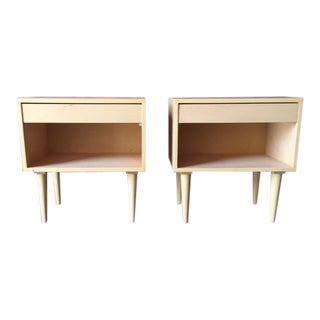Custom Mid Century Style Maple Pair of Nightstands For Sale