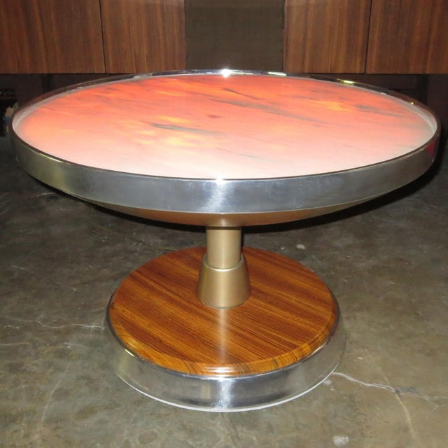 Metal Illuminated Side Table From SS Stella Solaris Cruise Ship For Sale - Image 7 of 8