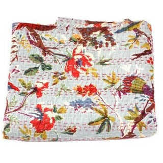 Grey Bird Kantha Throw - Queen For Sale