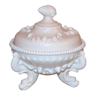 Westmorland Argonaut Pink Milk Glass Footed Candy Dish For Sale