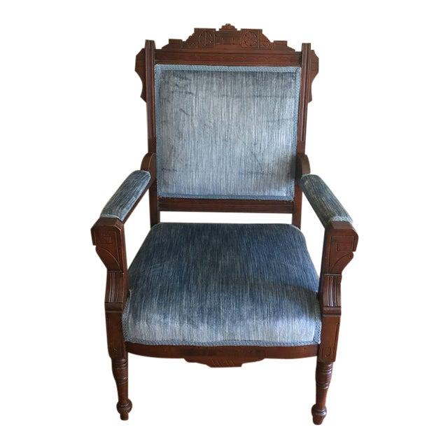 Blue Velvet Eastlake Chair For Sale