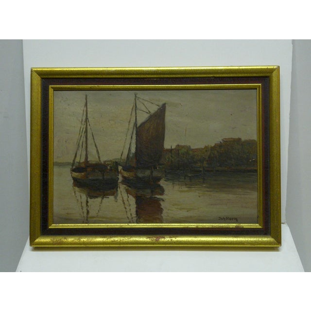 """Docked Boats"" Framed Painting on Board - Image 3 of 7"